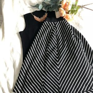 Philosophy black and white stripes midi skirt